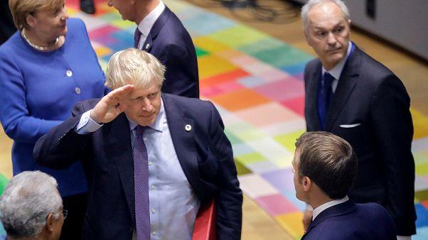 رئيس الورزاء البريطاني بوريس جونسون في القمّة الأوروبية الاستثنائية ببروكسل في تشرين الأول/اكتوبر 2019