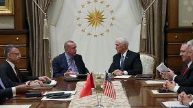 Treffen zwischen Erdogan und Pence in Ankara.