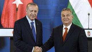 Recep Tayyip Erdogan török elnök és Orbán Viktor miniszterelnök az Országházban 2018. október 8-án.