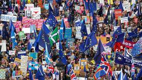 EU supporters march as parliament sits on a Saturday for the first time since the 1982 Falklands War, to discuss Brexit in London, Britain, October 19, 2019. REUTERS/Simon Daw