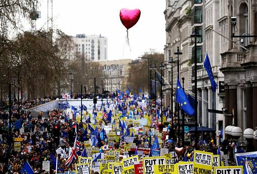 The People's Vote march in central London, March 2019.