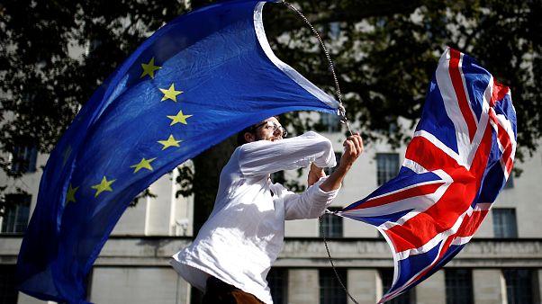 المؤيدون للبقاء في الاتحاد الأوروبي يخرجون في مسيرة في لندن تزامنا مع مناقشة مجلس العموم اتفاق بريكست، 2019/10/19.