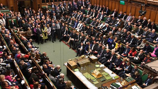 "A general view of the House of Commons on what was dubbed ""Super Saturday"", in London, Britain October 1"