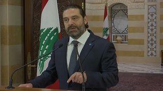 رئيس الوزراء اللبناني سعد الحريري وهو يلقي خطابا تناول فيه المظاهرات التي يشهدها لبنان. الصورة بتاريخ  18-10-19