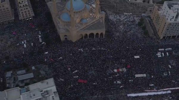 فيديو مصوَّر من الجو لحجم المظاهرة التي احتلت وسط بيروت الأحد