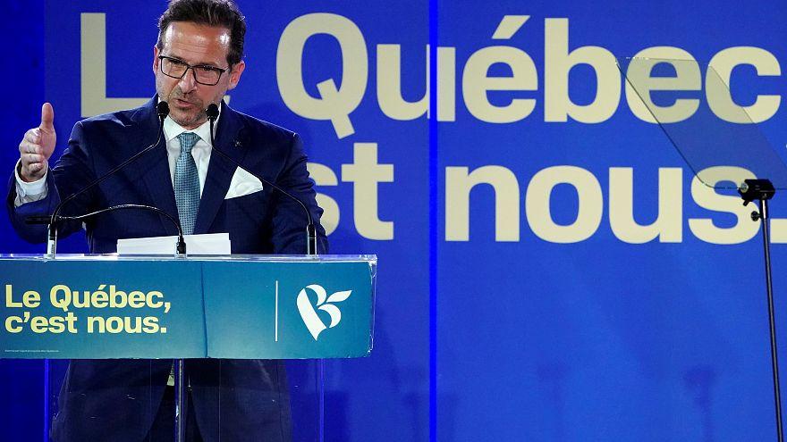 Yves-Francois Blanchet, chef du 'Bloc Québécois', à St-Jean-sur-Richelieu (Québec, Canada), 19/10/2019