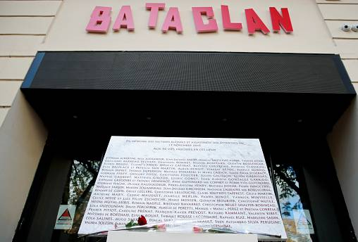 FILE PHOTO A commemorative plaque is seen at the entrance of the Bataclan concert venue after a ceremony marking the third anniversary of the Paris attacks of November 2015