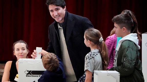 Justin Trudeau vote pour les législatives, Montréal (Canada), le 21/10/2019
