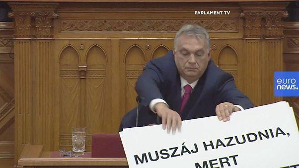 """Ungheria, il video della curiosa protesta anti-Orban in Parlamento: """"Stop alla corruzione"""""""
