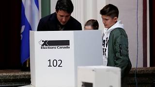 Canadian Prime Minister Justin Trudeau votes in the federal election in Montreal, Quebec, Canada October 21, 2019