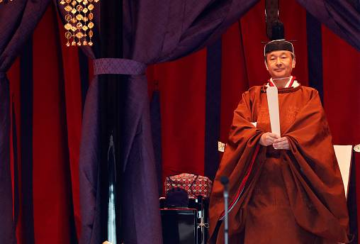 Emperor Naruhito attends a ceremony to proclaim his enthronement to the world, called Sokuirei-Seiden-no-gi, at the Imperial Palace in Tokyo, Japan October 22, 2019.