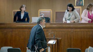 Ο πρώην βουλευτής της Χρυσής Αυγής Χρήστος Παππάς  απολογείται κατά τη διάρκεια της Δίκης της Χρυσής Αυγής
