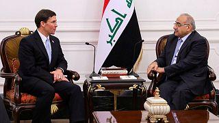 رئيس الوزراء العراقي عادل عبد المهدي يلتقي وزير الدفاع الأمريكي مارك إسبر في بغداد 23 أكتوبر 2019