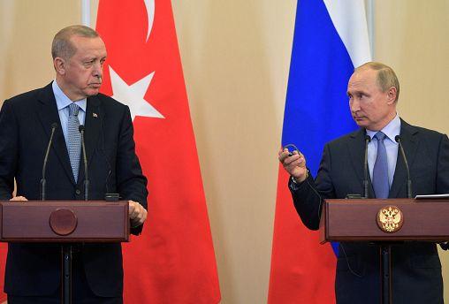 Russian President Vladimir Putin and Turkish President Tayyip Erdogan attend a news conference following their talks in Sochi, Russia October 22, 2019.