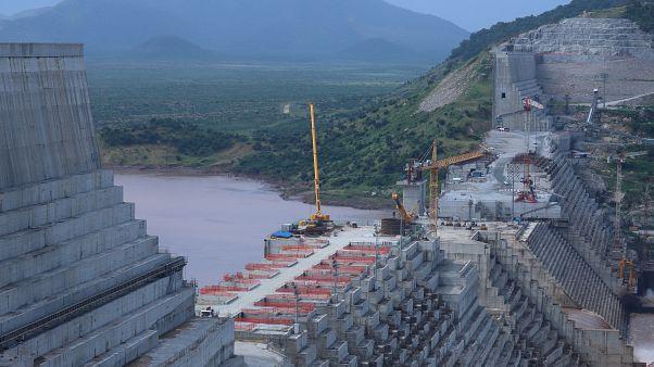 سد النهضة الإثيوبي الكبير في إثيوبيا وهو يخضع لأعمال بناء على نهر النيل في جوبا ووريدا، منطقة بينيشانغول جوموز، إثيوبيا 26 سبتمبر/ أيلول 2019
