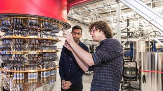 A Google egyik kvantumszámítógépe a Google Santa Barbara-i laborjában