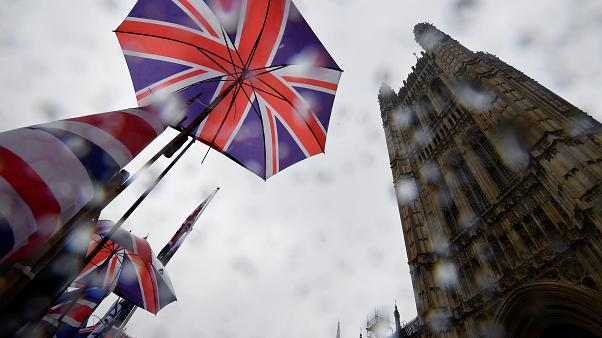 Union Jack flags are seen outside the Houses of Parliament in London, Britain, October 24, 2019.