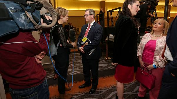 Sir Jeffrey Donaldson MP speaks to the media at the Democratic Unionist Party (DUP) annual Party Conference in Belfast, Northern Ireland October 26, 2019.