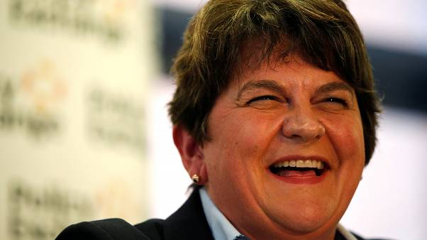 DUP leader Arlene Foster reacts during a meeting about abolishing the Irish backstop during the Conservative Party annual conference in Manchester, Britain, September 29, 2019