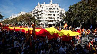 Pró-unionistas manifestam-se na Catalunha