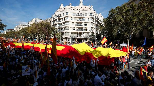 Thousands march for Spanish unity in Barcelona one day after violent pro-independence protests