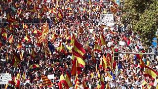 Tens of thousands protest against Catalan separatism in Barcelona