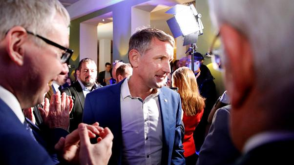 Björn Höcke, Alternative for Germany (AfD) leader in Thuringia, attends a party election night after the Thuringia state election in Erfurt