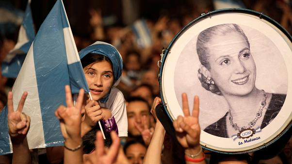 Supporters of Peronist candidate Alberto Fernandez celebrate his victory in Argentina