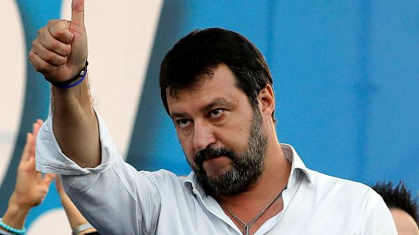 FILE PHOTO: League party leader Matteo Salvini gestures during an anti-government demonstration in Rome, Italy, October 19, 2019.