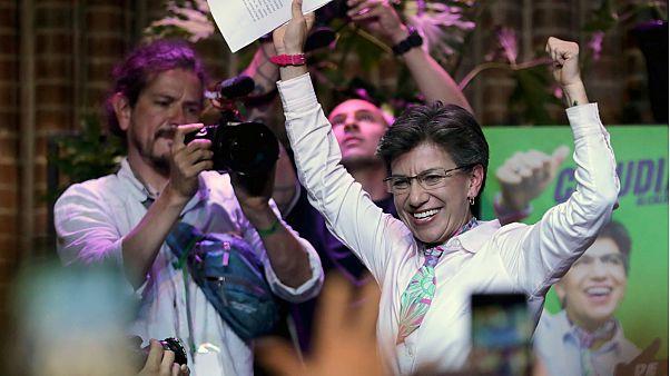 كلوديا لوبيز تحتفل بعد فوزها في الانتخابات المحلية في بوجوتا- أرشيف رويترز