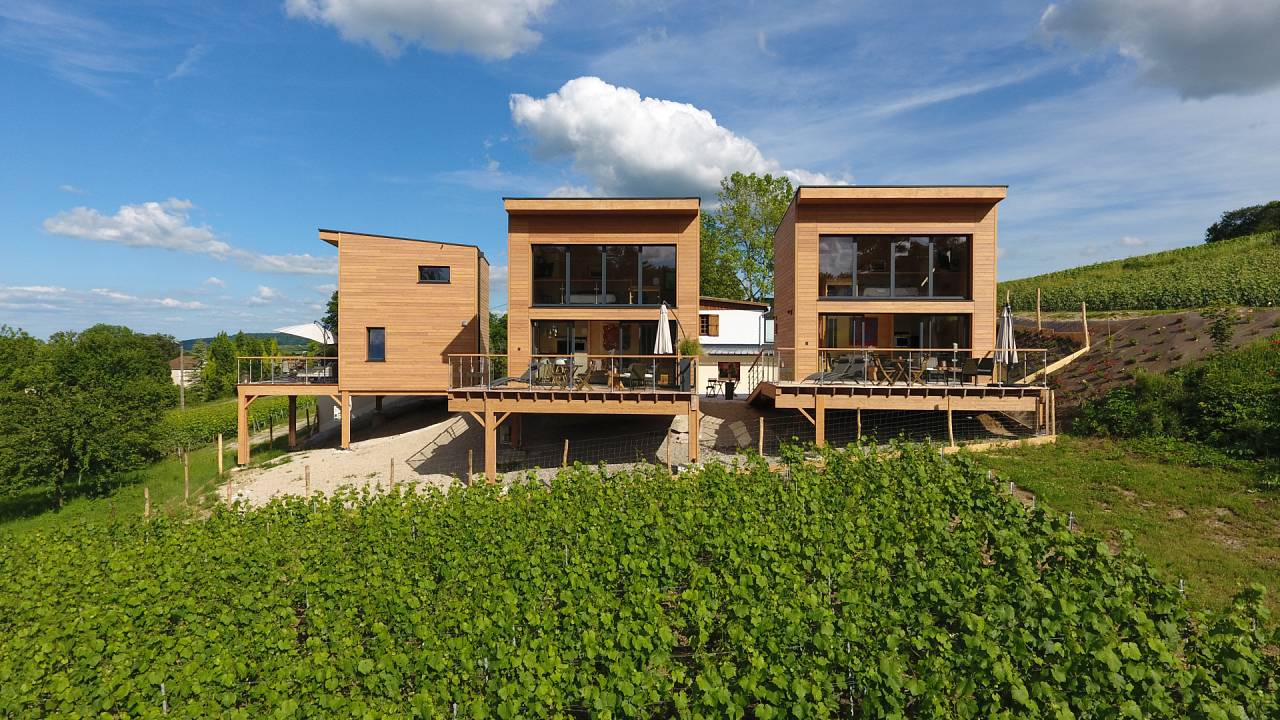 These eco-chalets are made from wood sourced within 30km