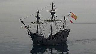 The Nao Victoria replica sets sail from Almeria