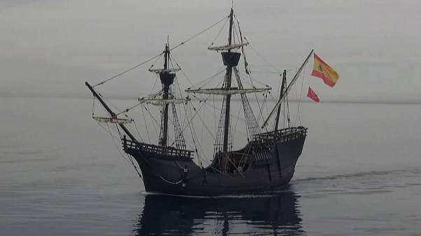 The Nao Victoria replica sets sail from Almeria