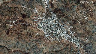 صورة أقمار صناعية لمكان الإقامة المفترض لزعيم داعش، أبو بكر البغدادي، بالقرب من قرية باريشا ، سوريا ، 28 سبتمبر 2019