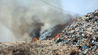 Muğla'nın Bodrum ilçesinde katı atık çöp depolama alanında yangın