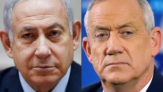 FILE: Israeli Prime Minister Benjamin Netanyahu (L) and Benny Gantz (R),  leader of the Blue and White political alliance