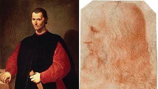 Machiavelli'nin Santi di Tito tarafından yapıldığı bilinen eski portresi (solda) ve Leonardo da Vinci (sağda)