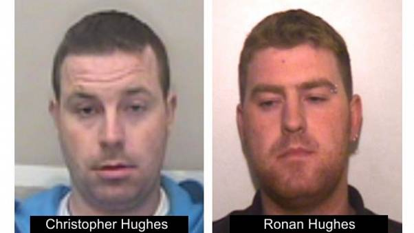 Essex Police issued a picture of Christopher Hughes (left) and his brother Ronan