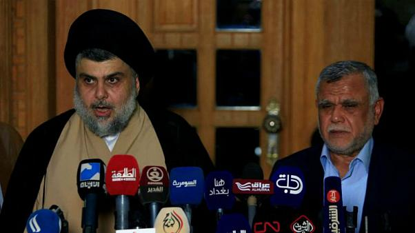 کنفرانس خبری مقتدی صدر و هادی عامری در ژوئن ۲۰۱۸