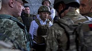 President Zelenskyi visits Ukranian troops on the frontline in east Ukraine