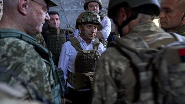 President Zelenskyi visits Ukranian troops on the frontline in east Ukraine