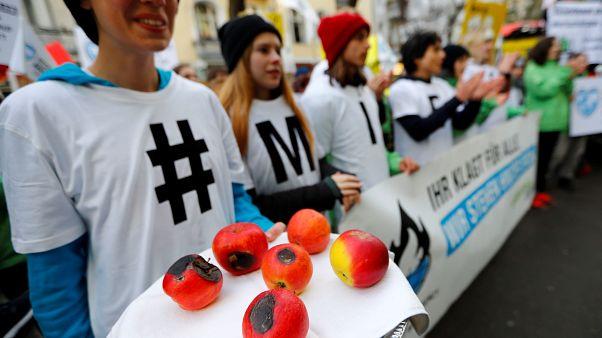 Demonstranten vor dem Gerichtsgebäude in Berlin: Die Folgen des Klimawandels bedrohten ihre Existenz, argumentierten die klagenden Landwirte.
