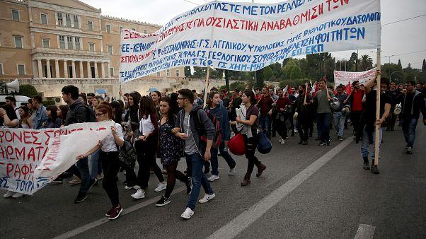 Φοιτητές συμμετέχουν στο Πανελλαδικό φοιτητικό συλλαλητήριο από τα Προπύλαια  προς τη Βουλή