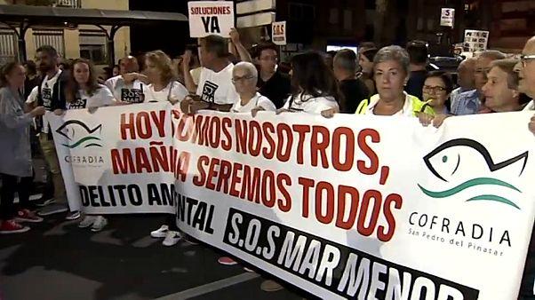 Manifestation en Espagne pour alerter sur l'urgence climatique de la Mar Menor