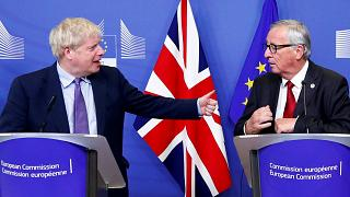 UK Prime Minister Boris Johnson and European Commission President Jean-Claude Juncker at the European Council summit, Brussels, October 17, 2019.