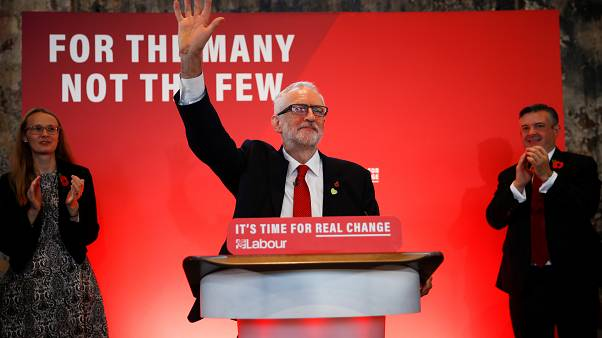 Britain's opposition Labour Party leader Jeremy Corbyn waves to supporters at a launch event for the Labour party's general election campaign in London, Britain October 31, 20