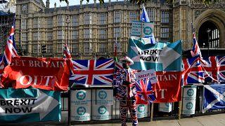 A pro-Brexit activist outside Parliament