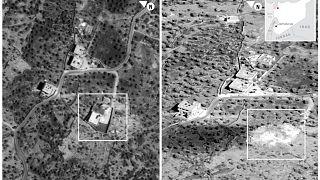 صورتان تمثلان المجمع الذي قتل فيه أبو بكر البغدادي قبل وبعد الغارة جوية في إدلب 26 أكتوبر 2019