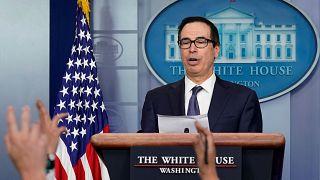 El secretario de Hacienda de Estados Unidos, Steve Mnuchin en una rueda de prensa en la Casa Blanca en Washington, Estados Unidos, el 11 de octubre de 2019.