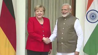 Angela Merkel de visita à Índia